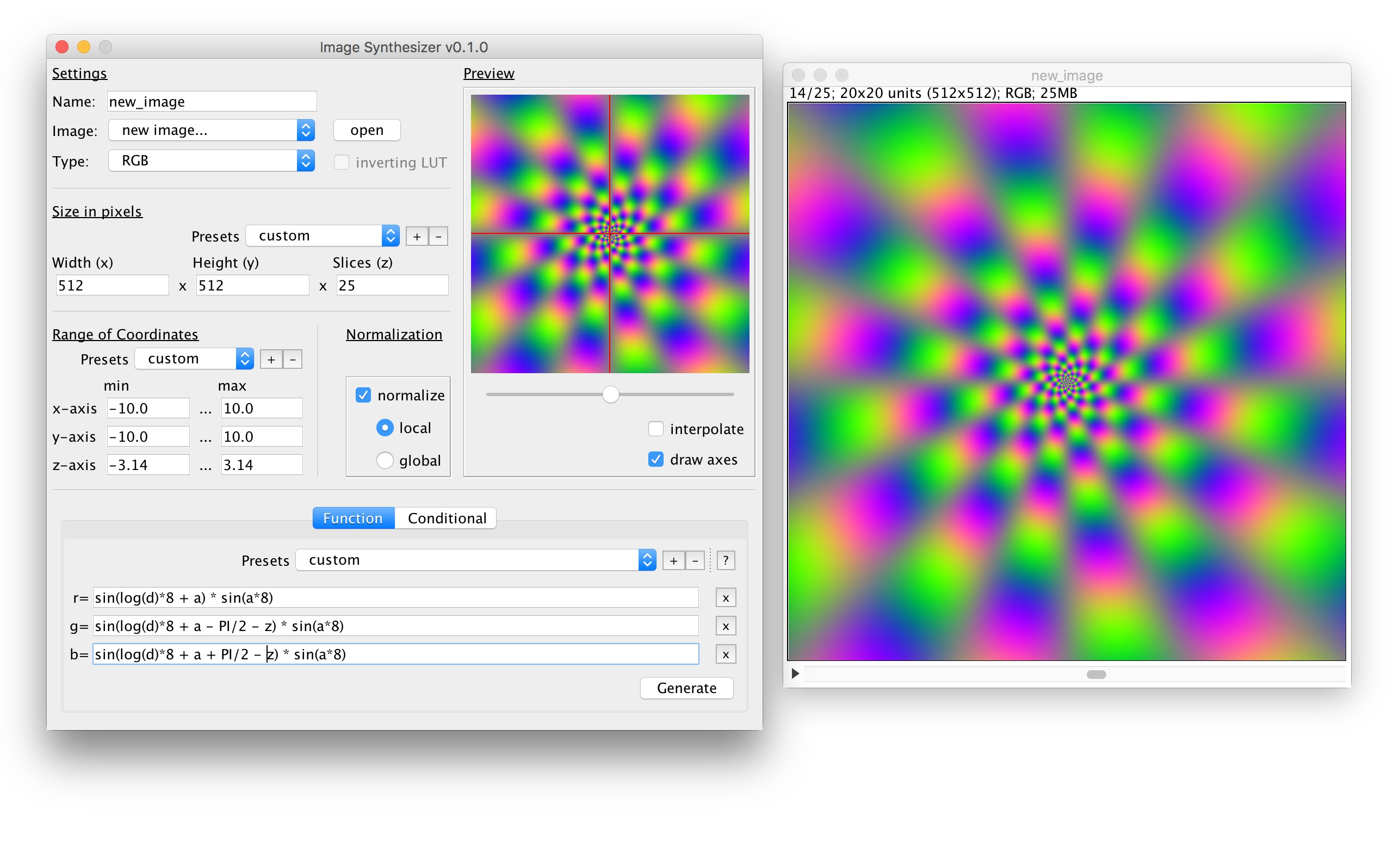 Screenshot of the 'Image Synthesizer' plugin