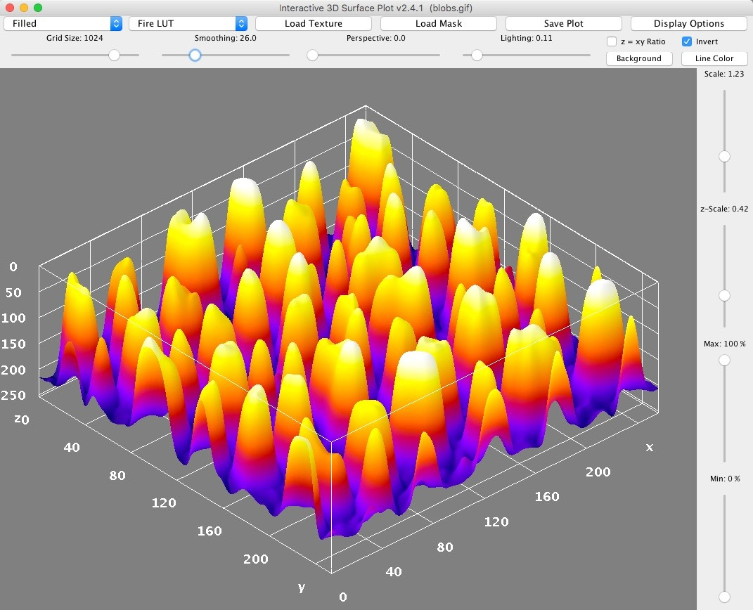 Screenshot of the 'Interactive 3D Surface Plot' plugin